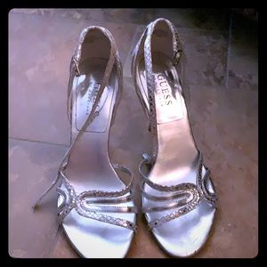 Guess by Marciano size 5.5 heels-Silver